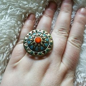 Fantastic Western Medallion Chunky Cocktail Ring